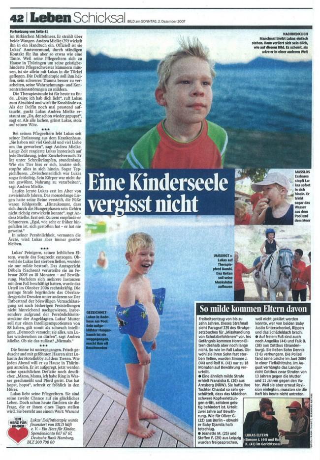 Delphintherapie in Bild am Sonntag Zeitung II
