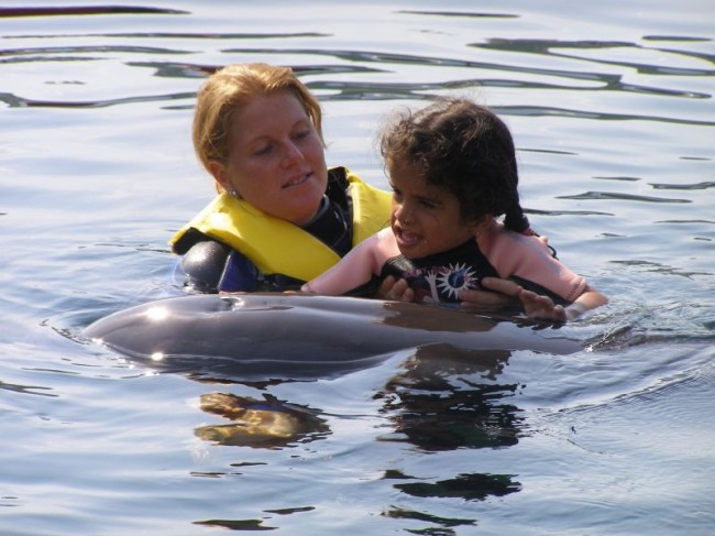 Through meeting the dolphins Sue learned to walk