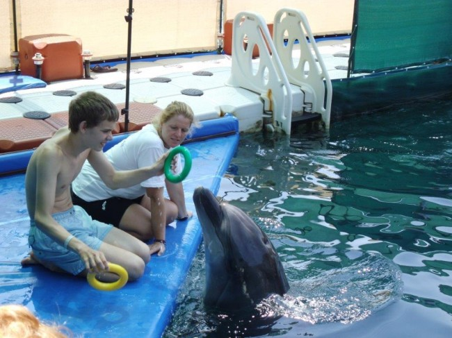 Stefan playing with the dolphins