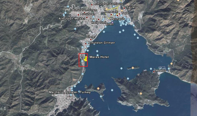 Map of dolphin therapy in Marmaris
