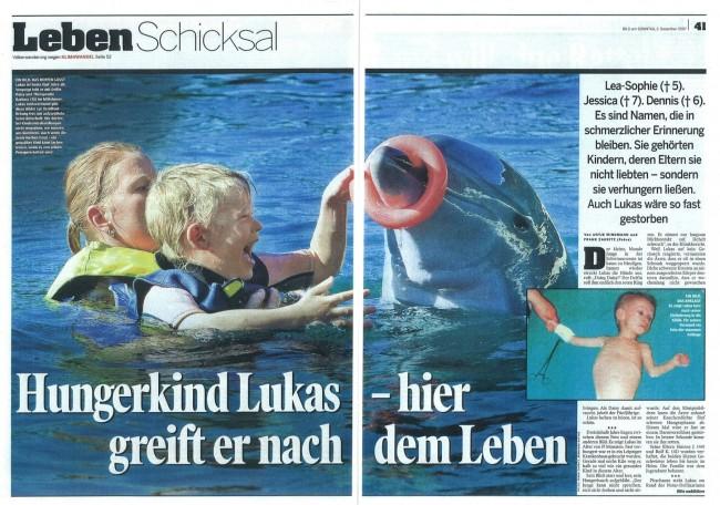 Delphintherapie in der Bild am Sonntag Zeitung