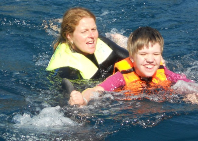 Swimming with Dolphins for Sandra in Dolphin Therapy Center in Marmaris